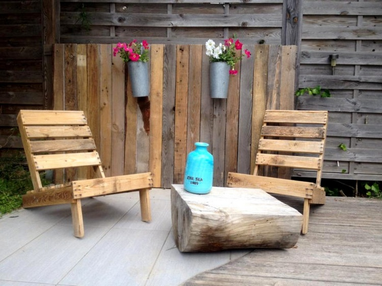 Pallet Loungers with Half Cut Wood Log Coffee Table