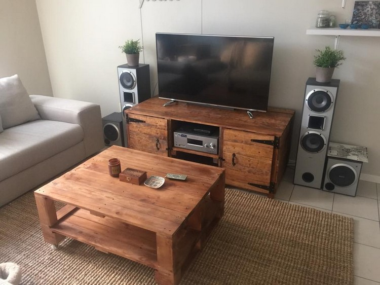 Pallet Media Table and Coffee Table