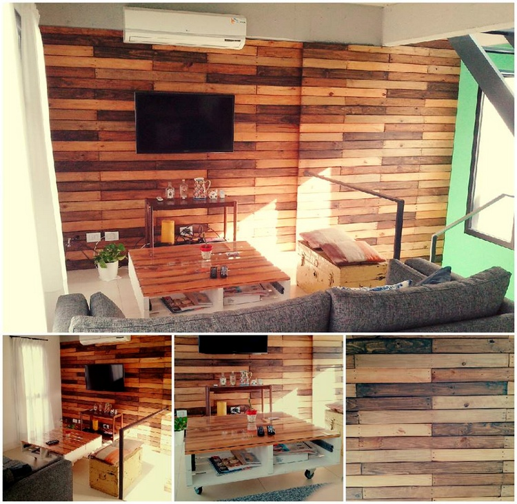 Pallet Media Wall And Coffee Table