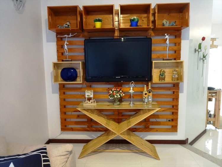 Pallet Media Wall + Criss Cross Media Console