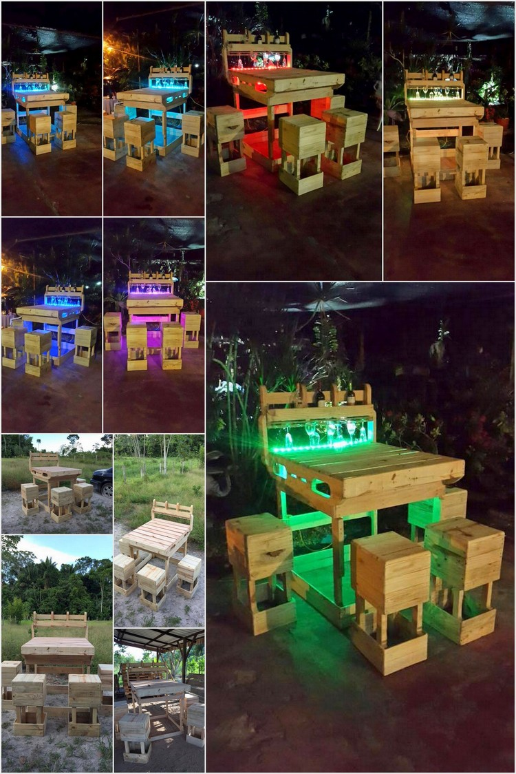 Pallet Outdoor Wine Bar with Lights