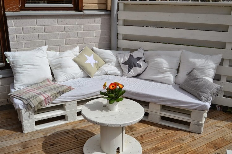 Pallet Sofa and Round Cable Reel Table