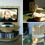Pallet and Half Cut Spool TV Console with Storage