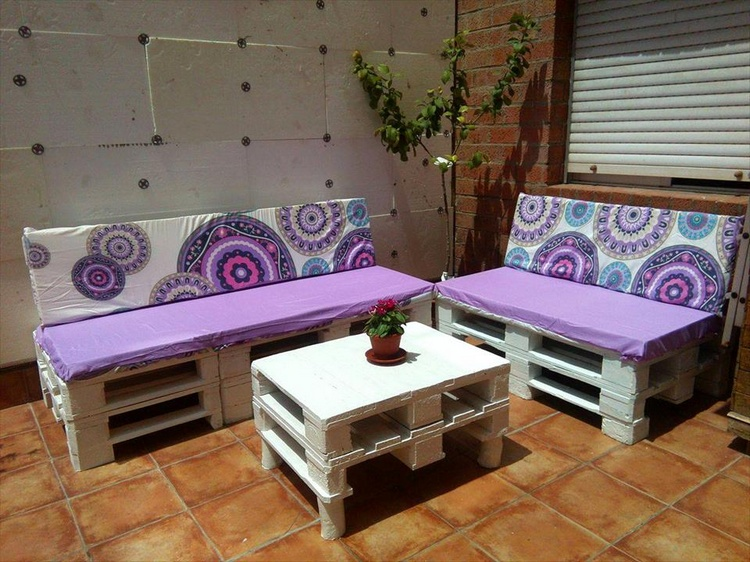 White Sofa Set with Purple Cushions