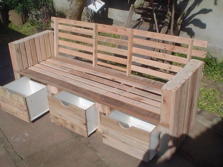 Wood Pallet Bench with Drawers