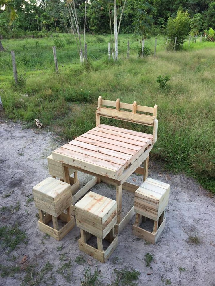 Wooden Pallet Bar with Stools