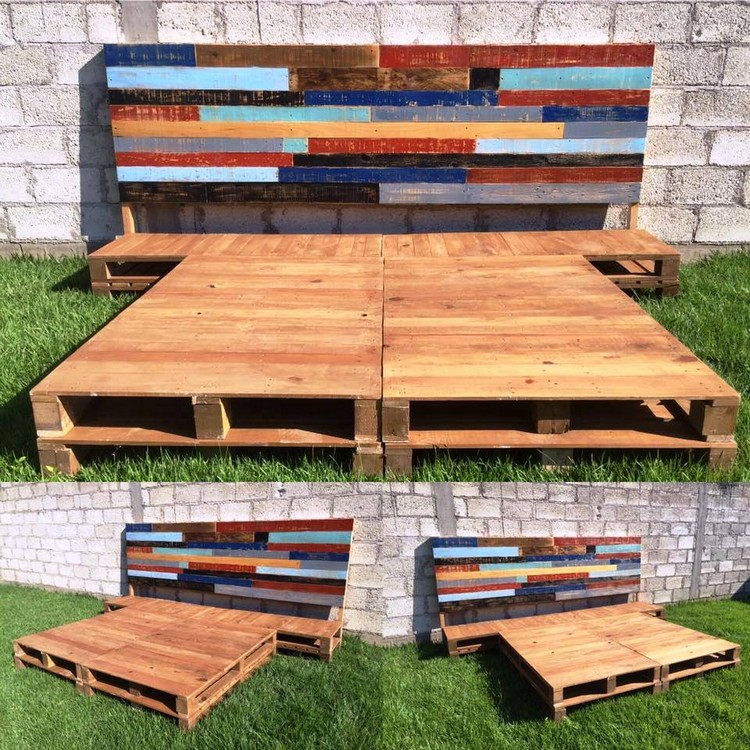 King Size Pallet Bed with Headboard