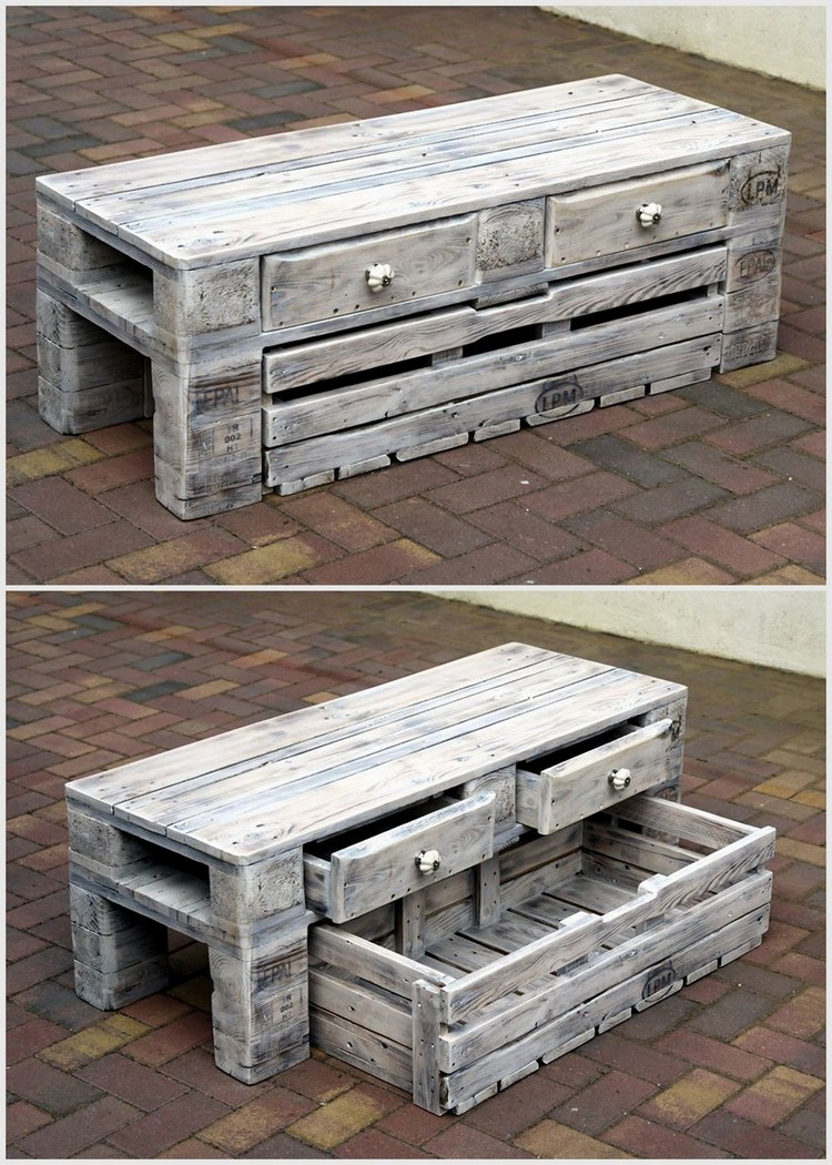 Old Pallet Table with Drawers