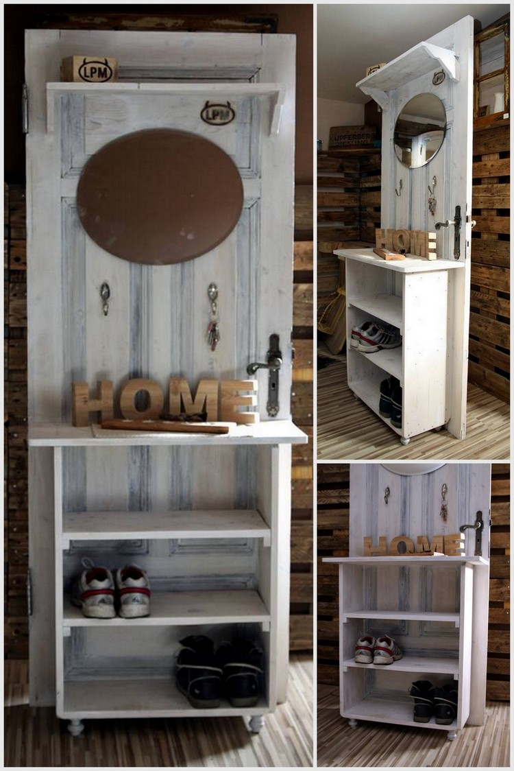 Pallet Door with Mirror and Shoe Rack