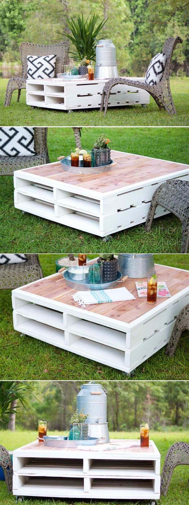 Most easiest but practical recycled pallet ideas that for Outdoor table decor ideas