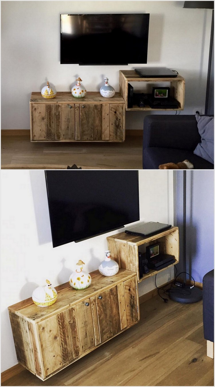 Pallet Media Shelf with Drawer