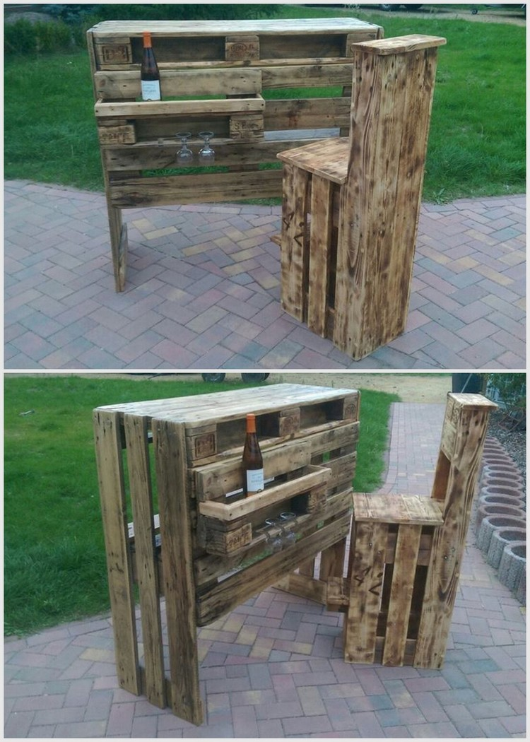 Pallet Outdoor Wine Bar with Chair
