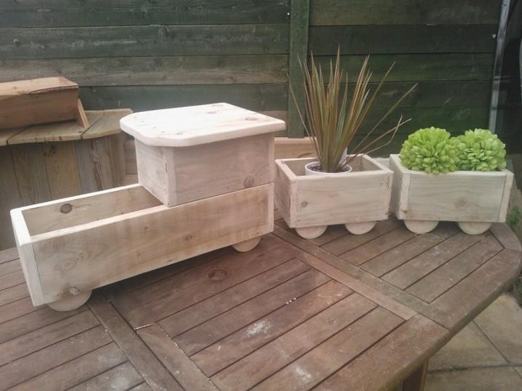 We have made this train wooden planter. It would surely increase the ...