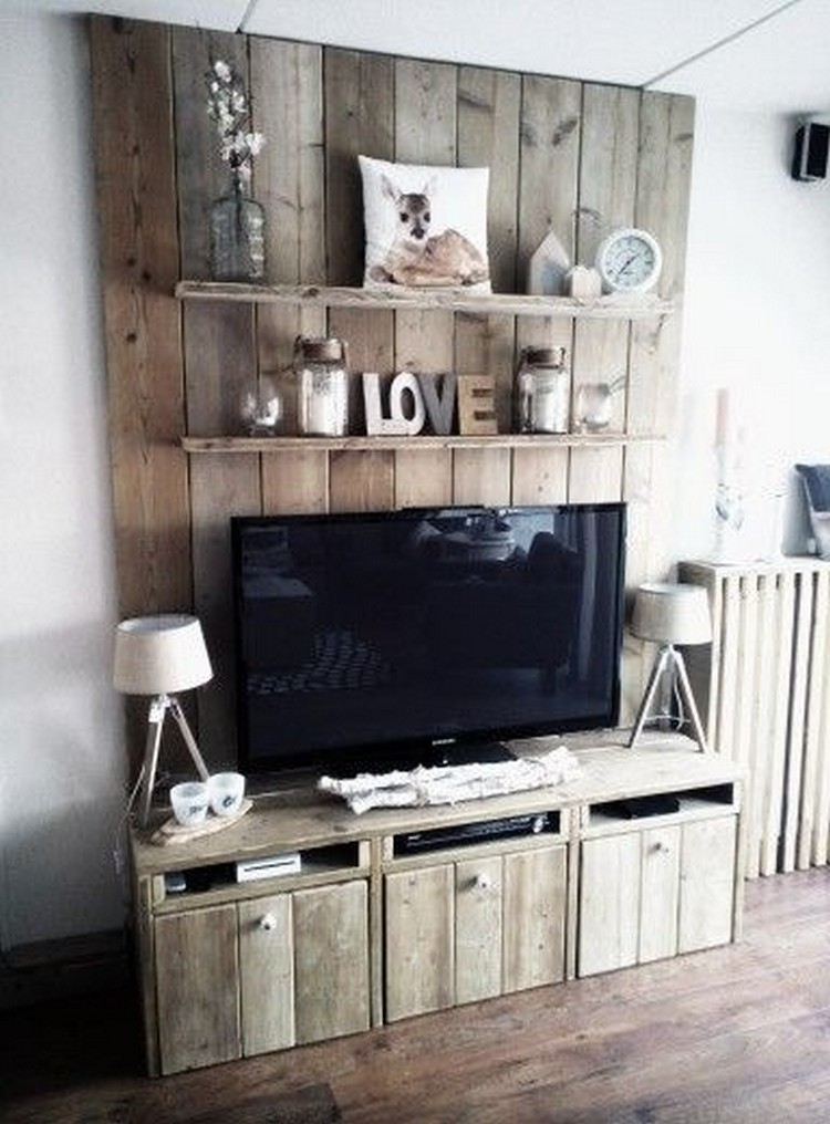 Pallet Wall Shelves and Media Stand