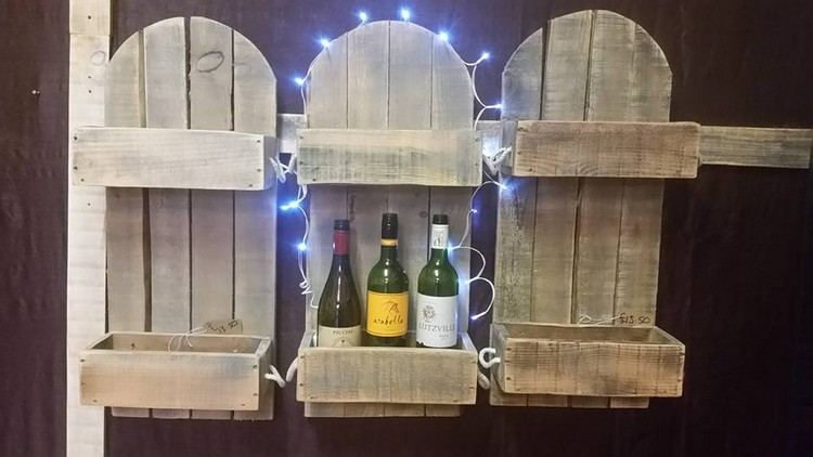 Pallet Wine Rack with Lights