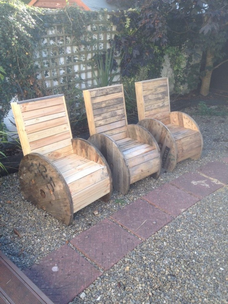 Pallet and Cable Spool Chairs