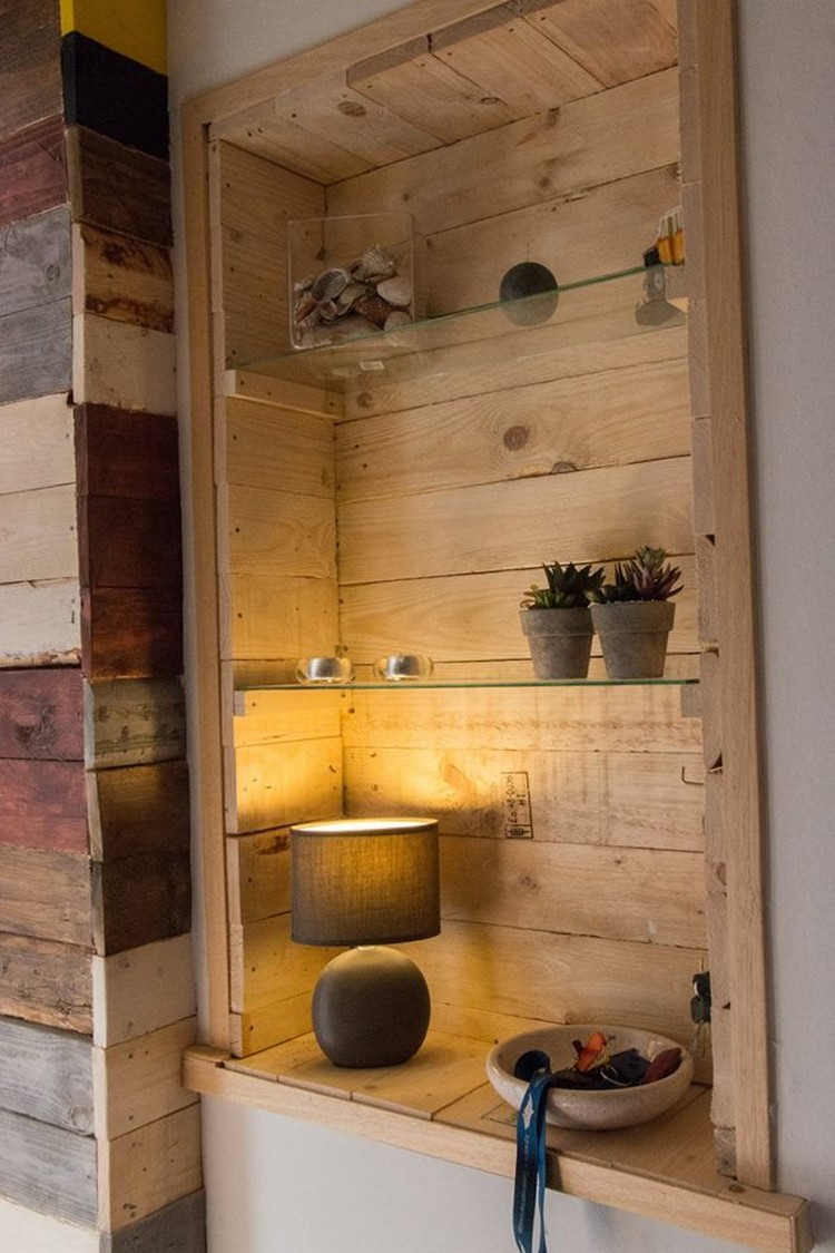 Pallet and Mirror Wall Shelf