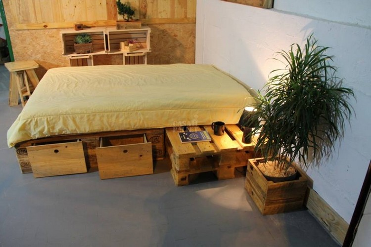 Wood Pallet Bed with Storage