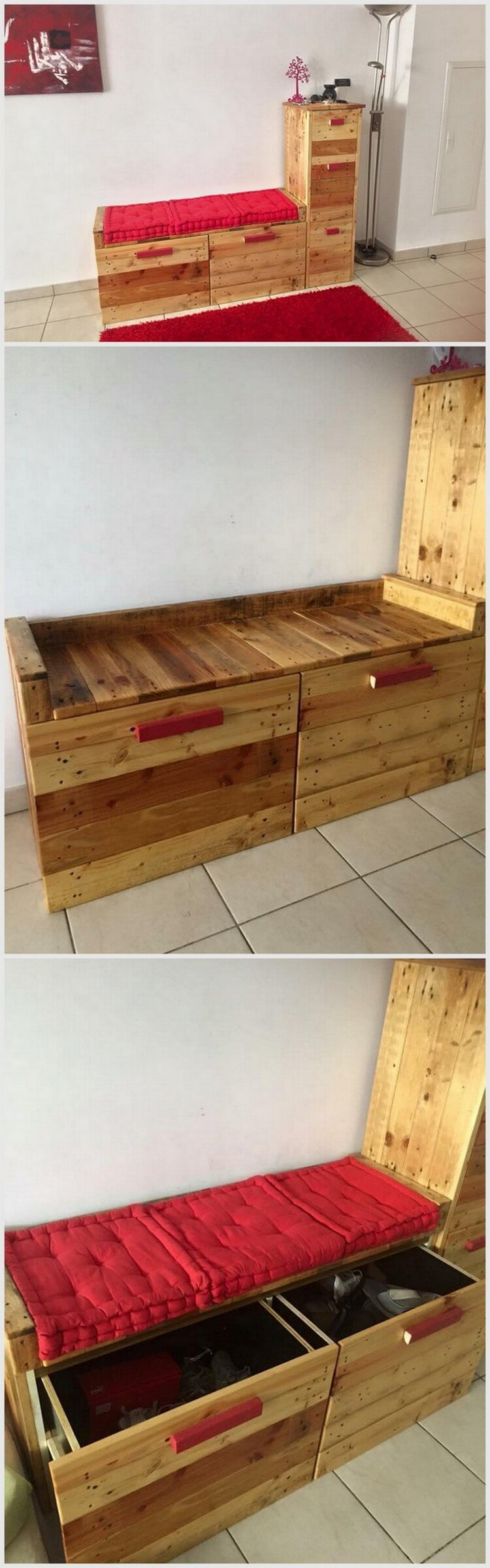 Cute Pallet Bed with Storage