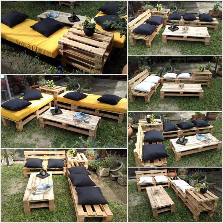 Garden Furniture Idea with Old Wood Pallets