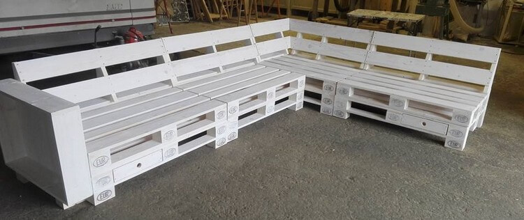 L Shape Wood Pallet Sofa with Drawers