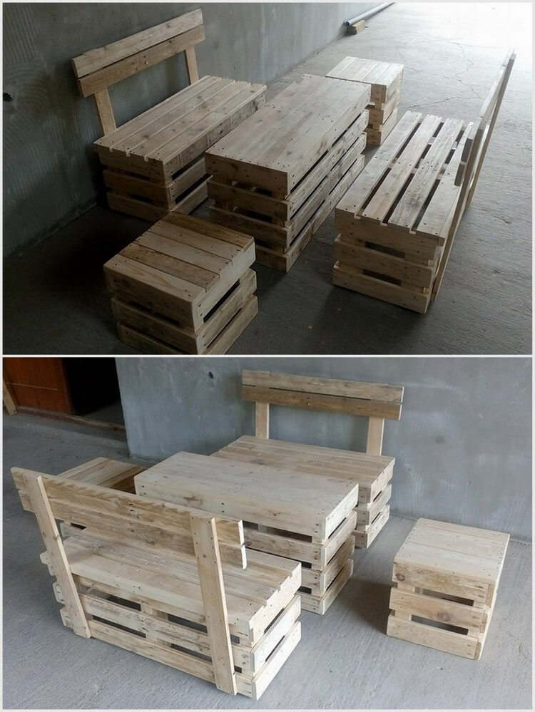Old Wood Pallet Furniture Set