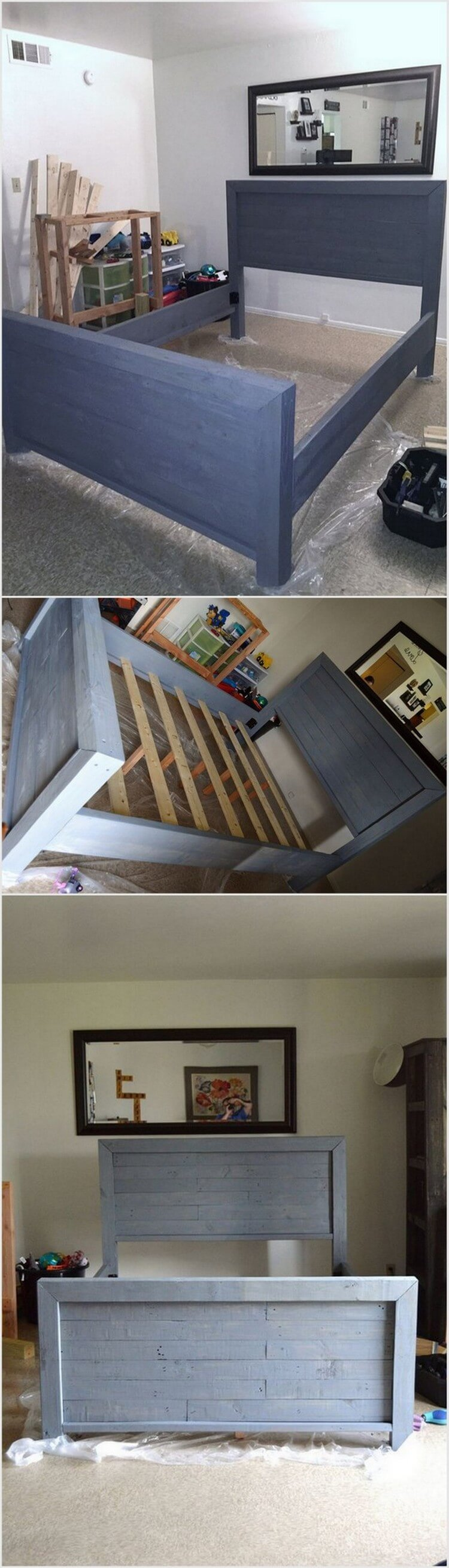 Painted Wood Pallet Bed Frame