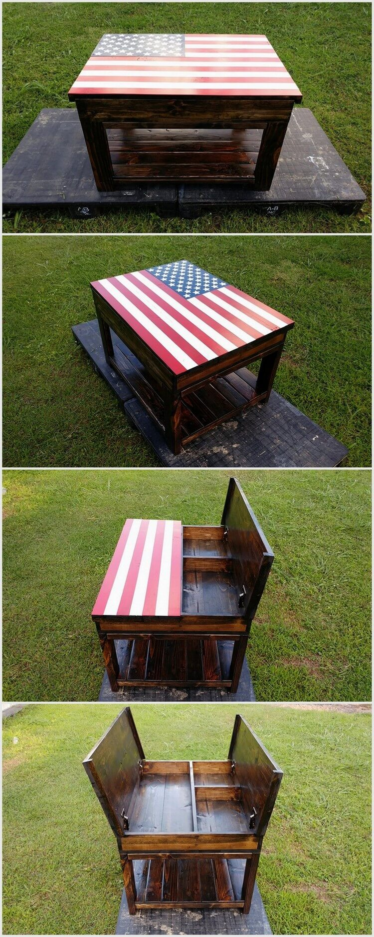 Pallet American Flag Table with Storage