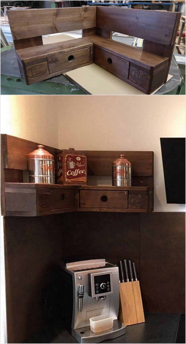 Pallet Corner Shelf with Drawers