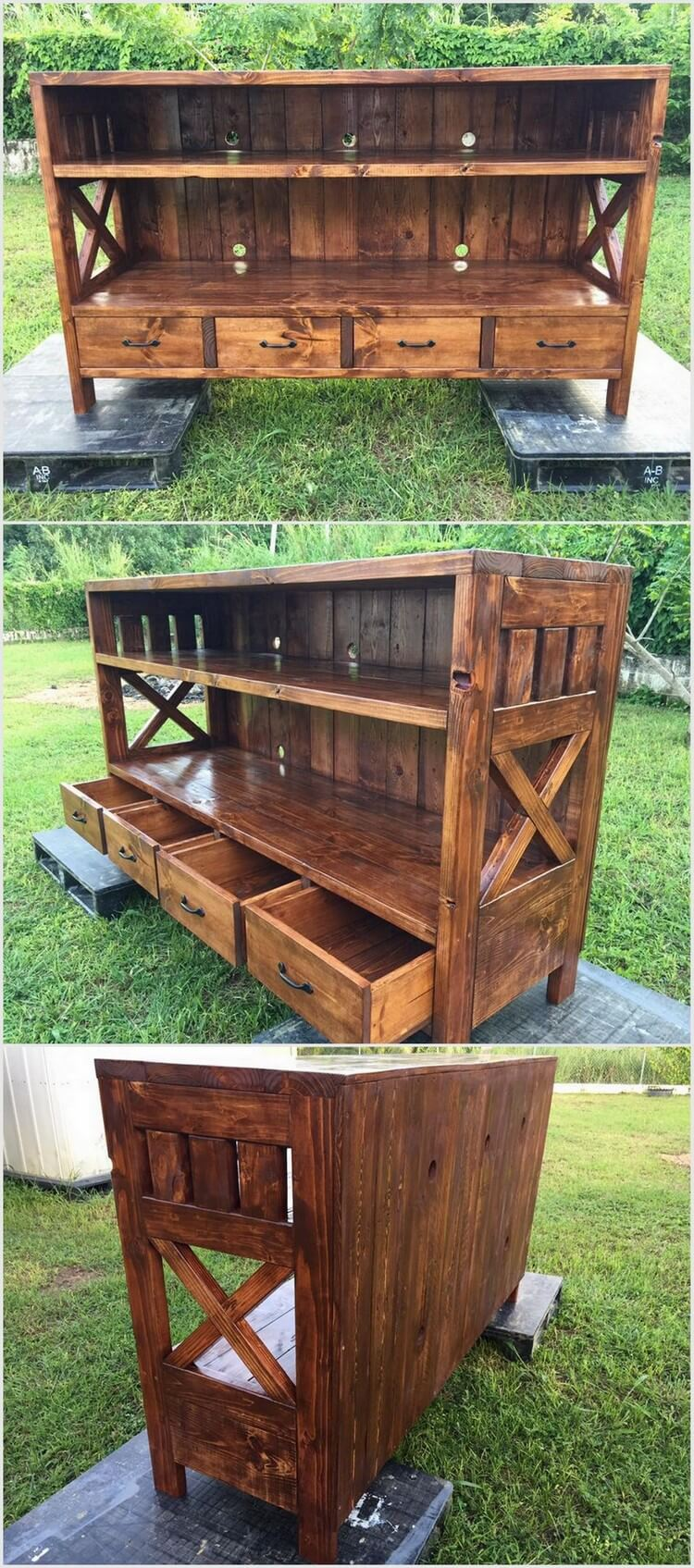 Pallet Media Table with Drawers