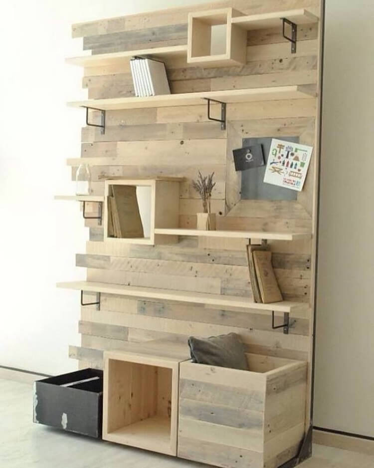 Pallet Wall Shelves and Racks
