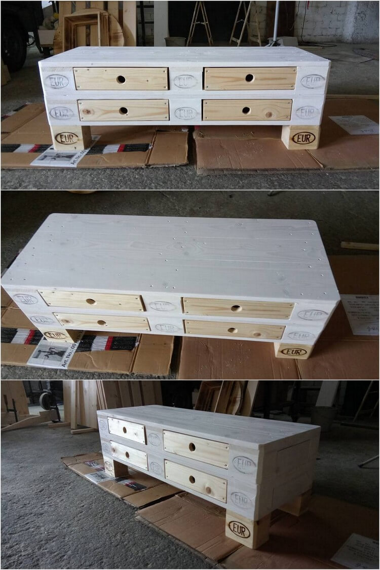 Recycled Wood Pallet Table with 4 Drawers