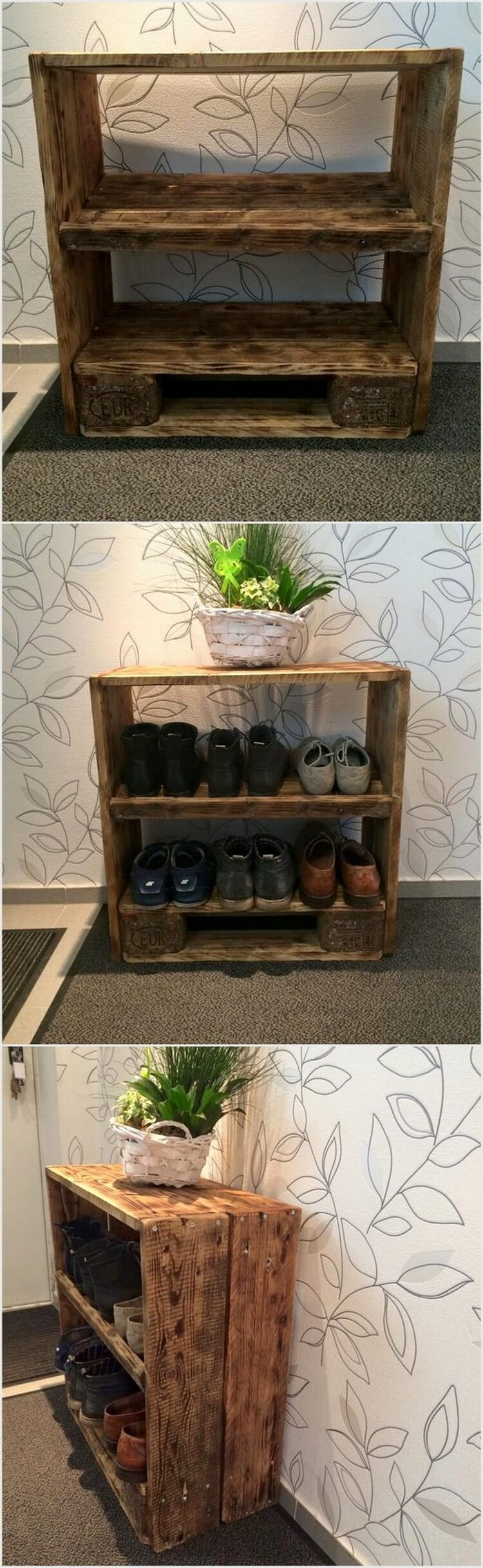 Shipping Wood Pallet Shoe Rack