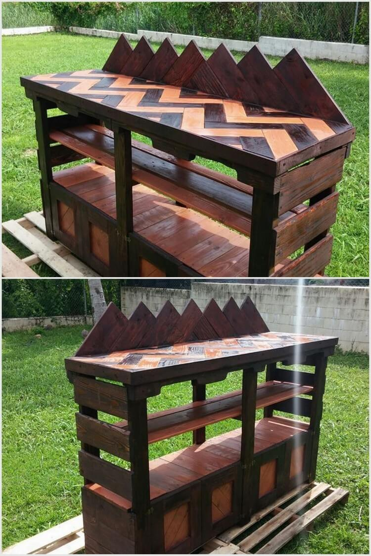 prepare cute outdoor bar with used wood pallets pallet