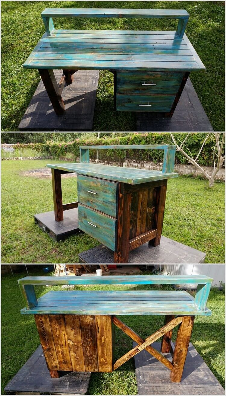 Unique Wood Pallet Table with Drawers