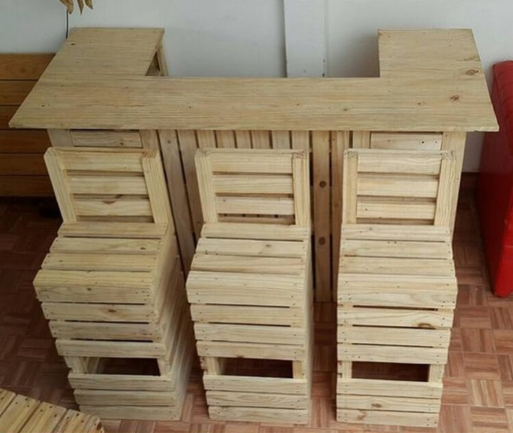Wood Pallet Bar + Seats