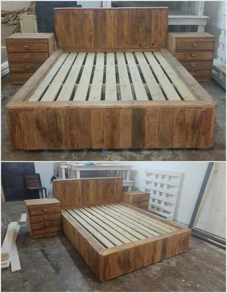 Wood Pallet Bed with Headboard and Side Tables