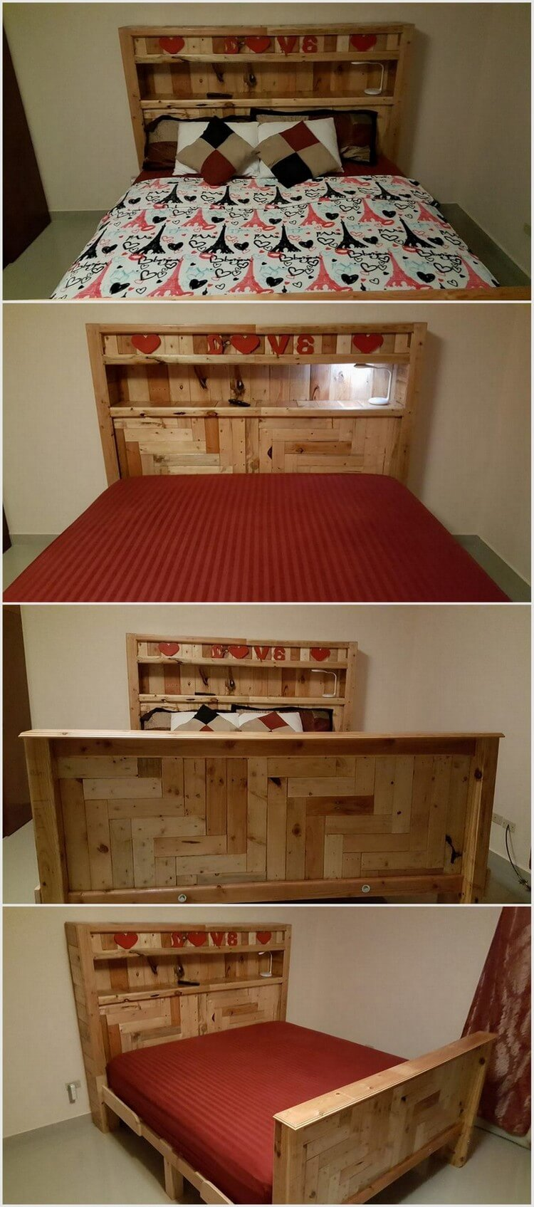 Wood Pallet Bed with Stylish Headboard