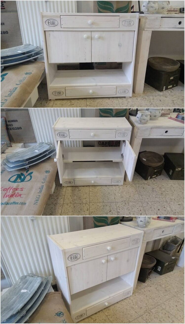 Wood Pallet Cabinet Table with Huge Drawers