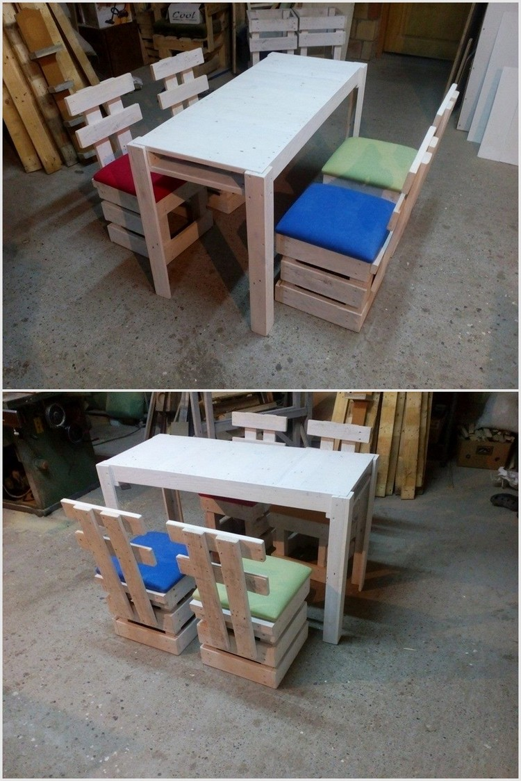Wood Pallet Chairs and Table Set