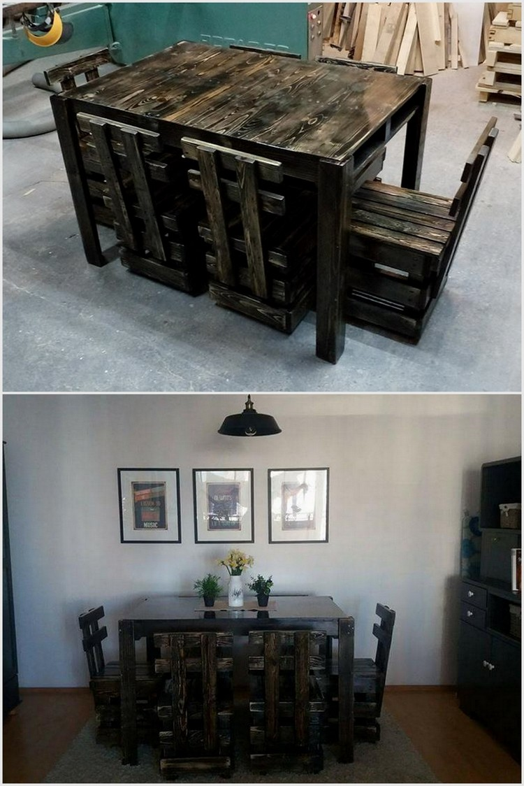 Wood Pallet Dining Set with Chairs