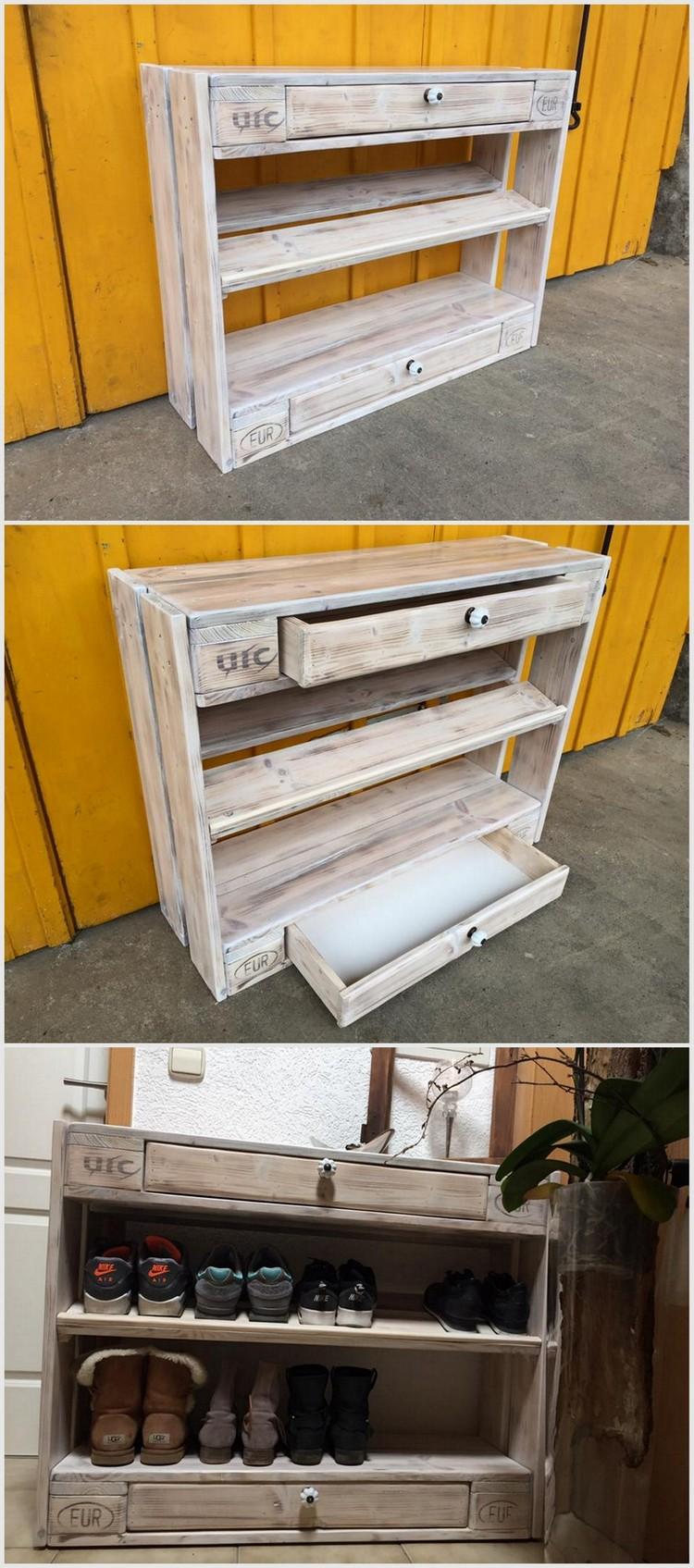 Wood Pallet Shoe Rack Idea
