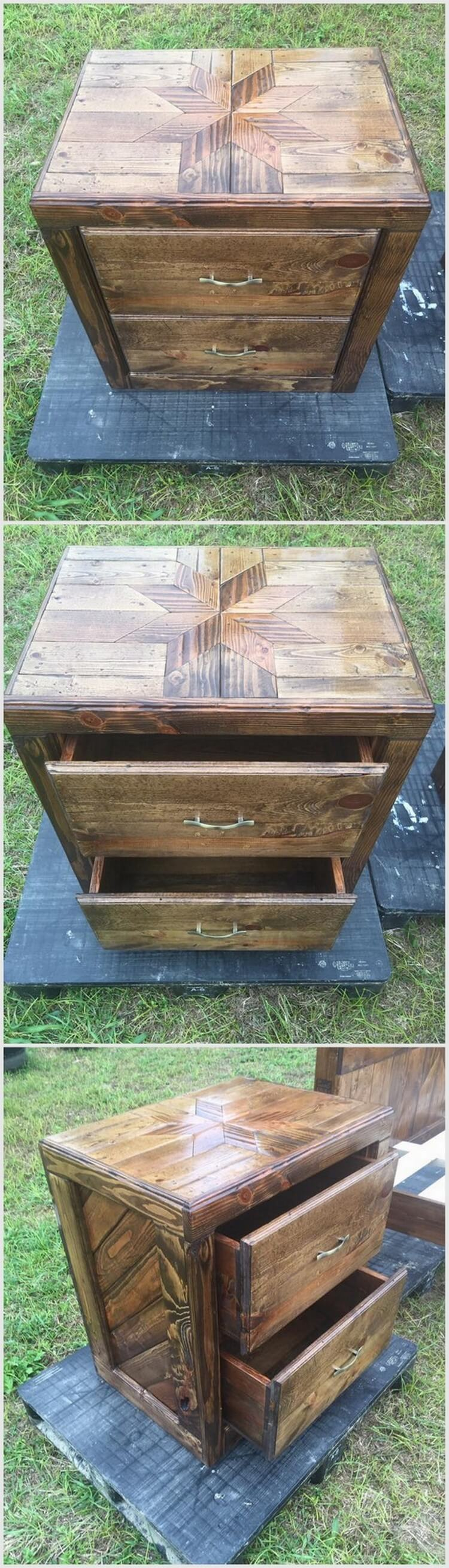 Wood Pallet Side Table with Two Drawers