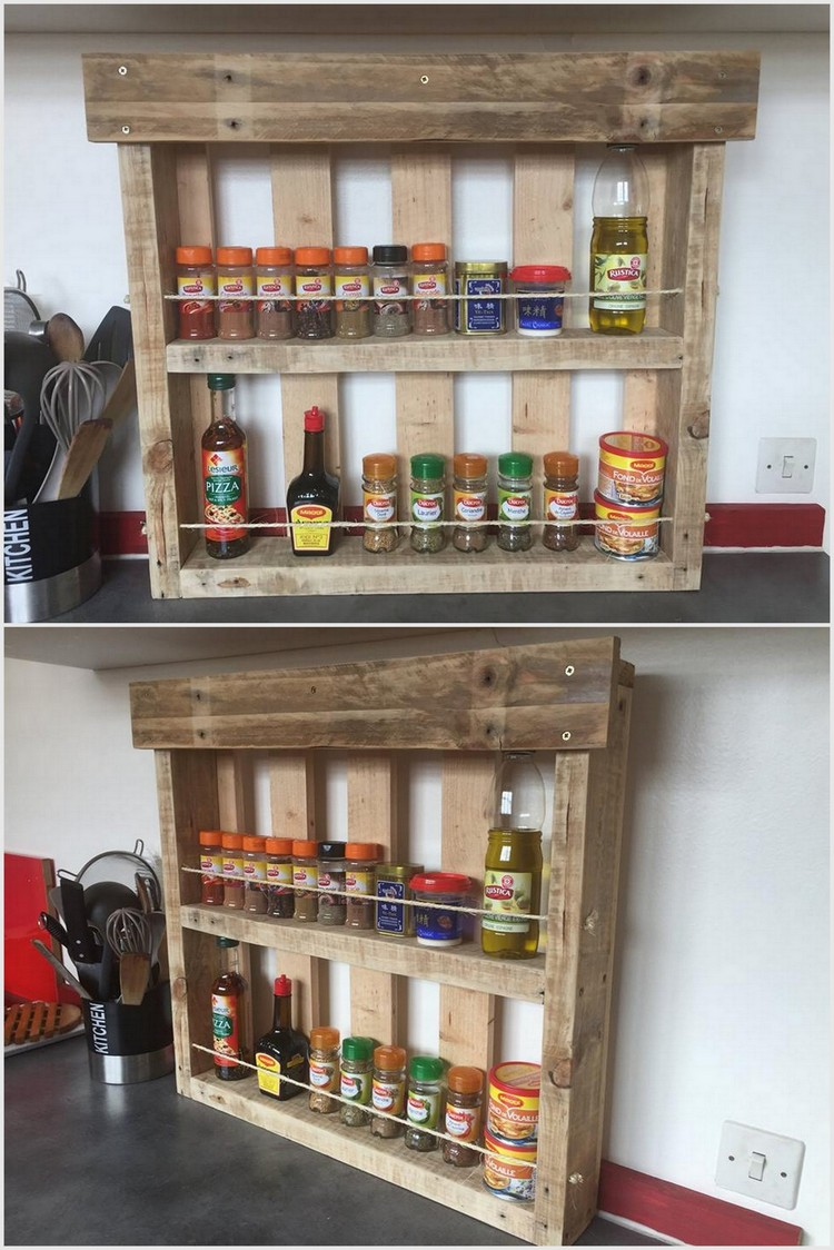 Wood Pallet Spice Rack for Kitchen