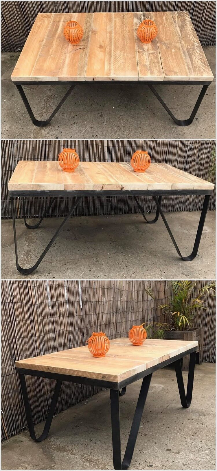 Wood Pallet Table with Metal Legs