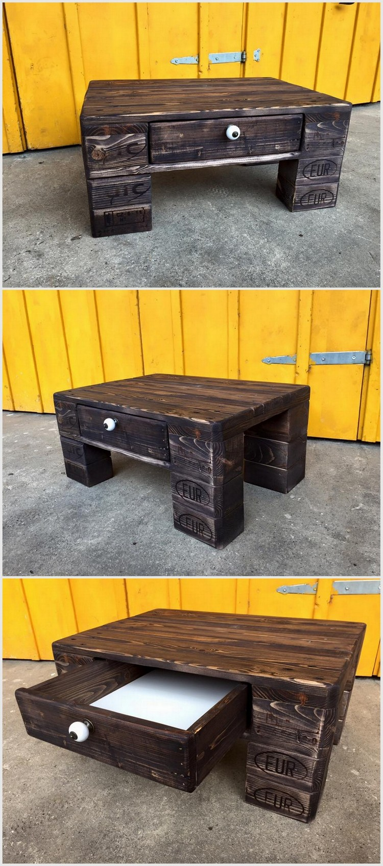 Wooden Pallet Table with Drawre