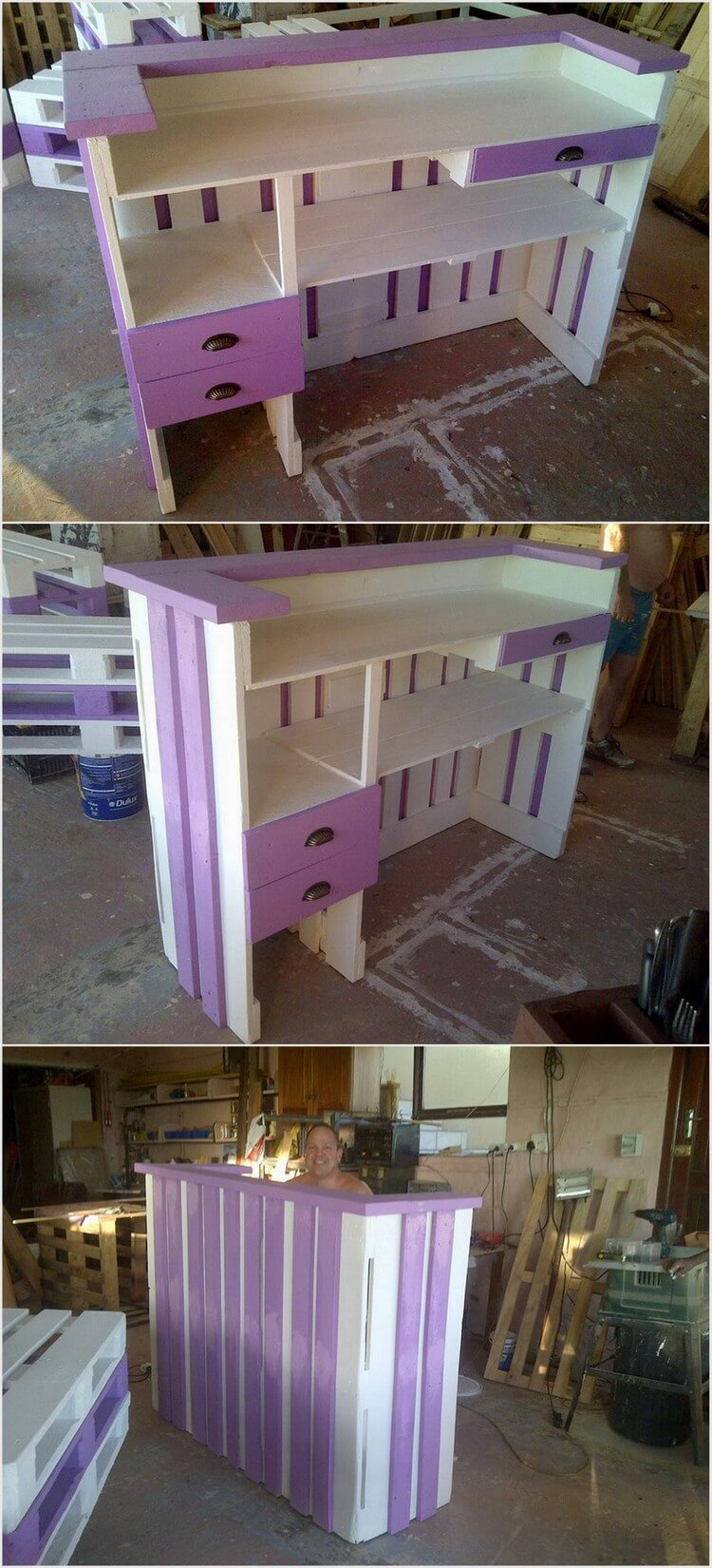 Colorful Pallet Bar Table with Drawers