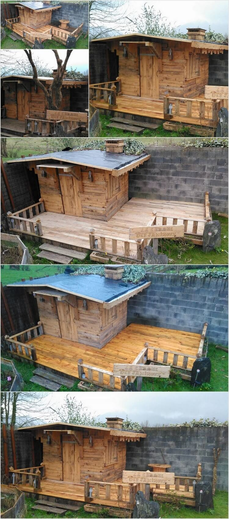 Diy wood pallet patio cabin deck project pallet wood for Diy projects using wood pallets