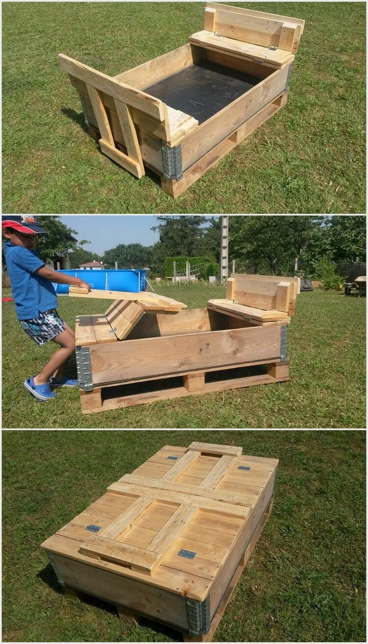 Foldable Pallet Sand Pit for Kids