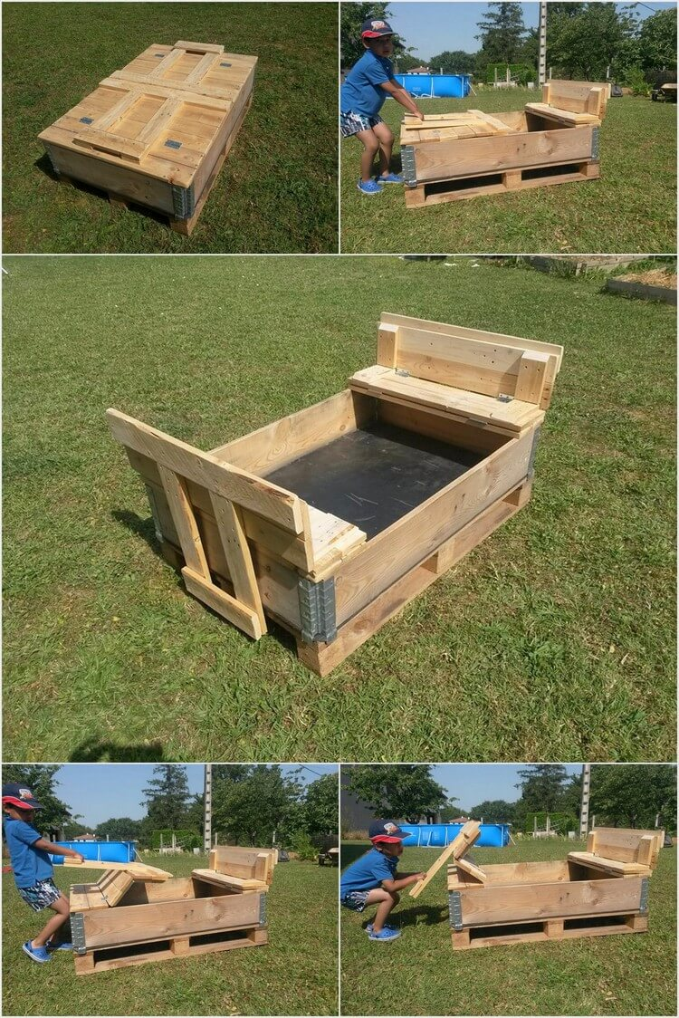 Foldable Sand Pit Made Out Of Wooden Pallets Pallet Wood Projects